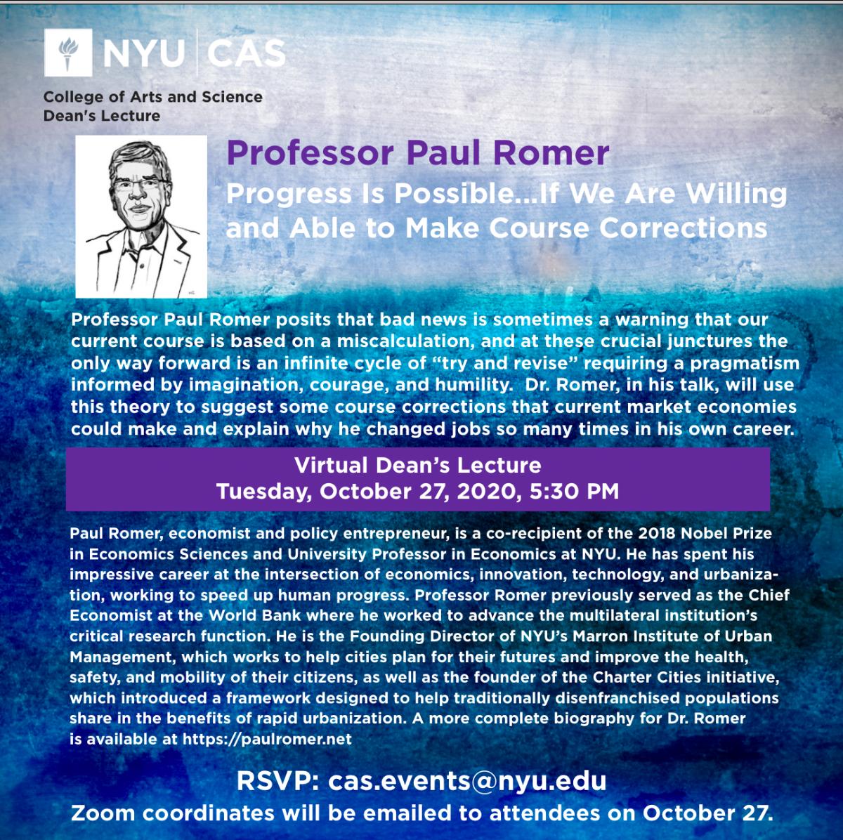 Professor Paul Romer Poster Photo