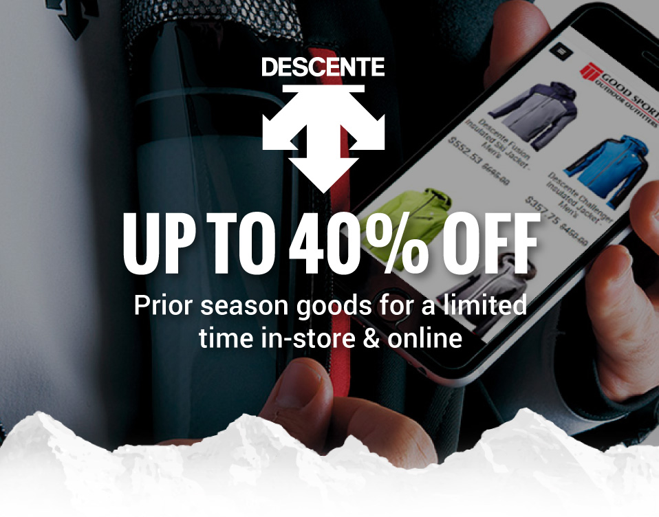 Save up to 40% OFF prior season styles from Descente for a limited time