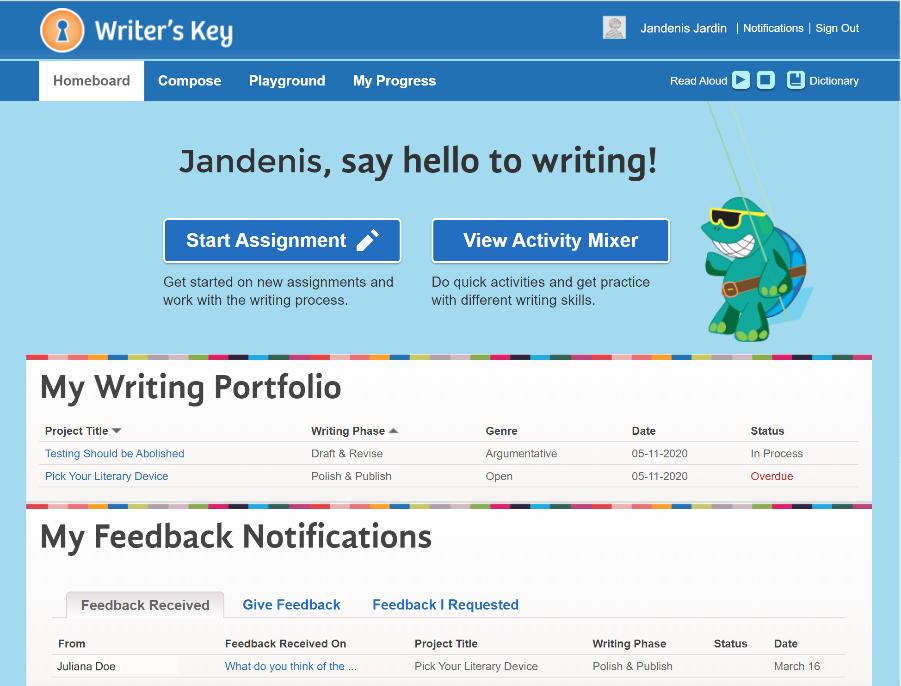 Writer's Key homepage