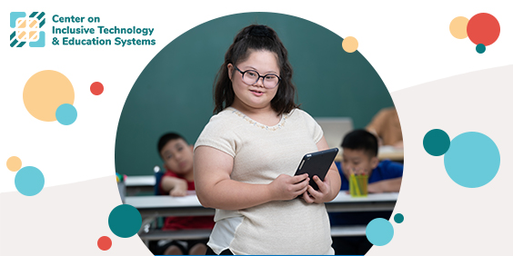 Image of young student holding a tablet