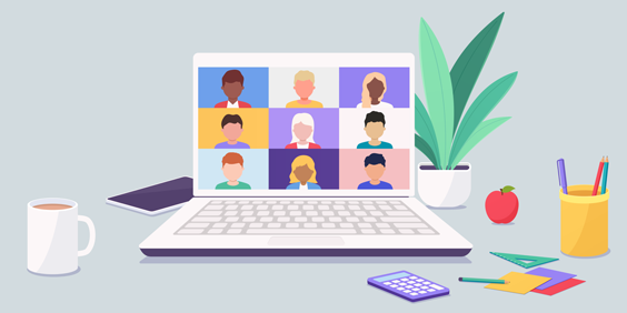 Illustration of an office space setup and a laptop with people in a virtual meeting