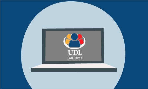 image of UDL Level 2 credential logo on a laptop screen