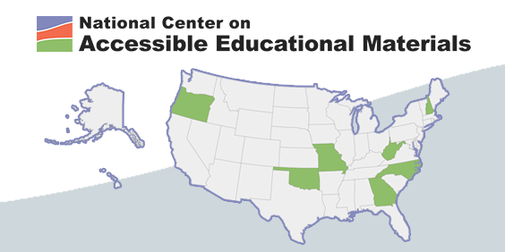 National Center on Accessible Educational Materials with image of United States map