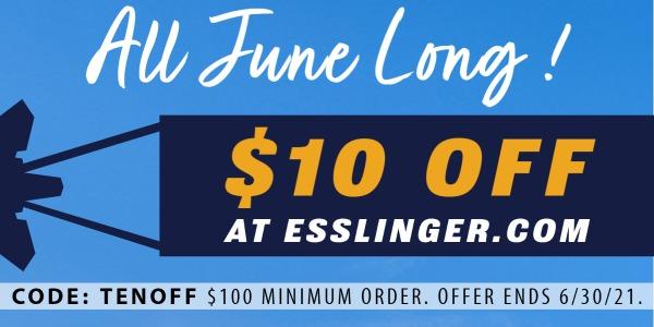 $10 Off Esslinger.com All June Long! -