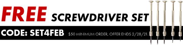 | Free Screwdriver Set With Order, Code:SET4FEB