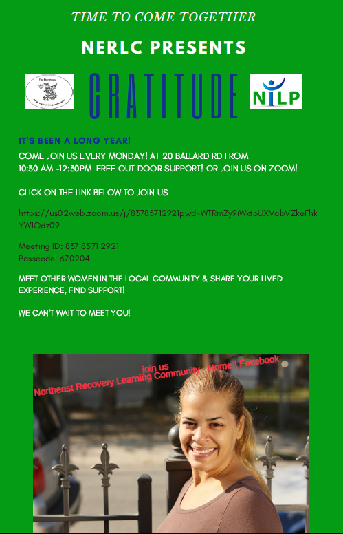 Flyer for peer support group every Monday