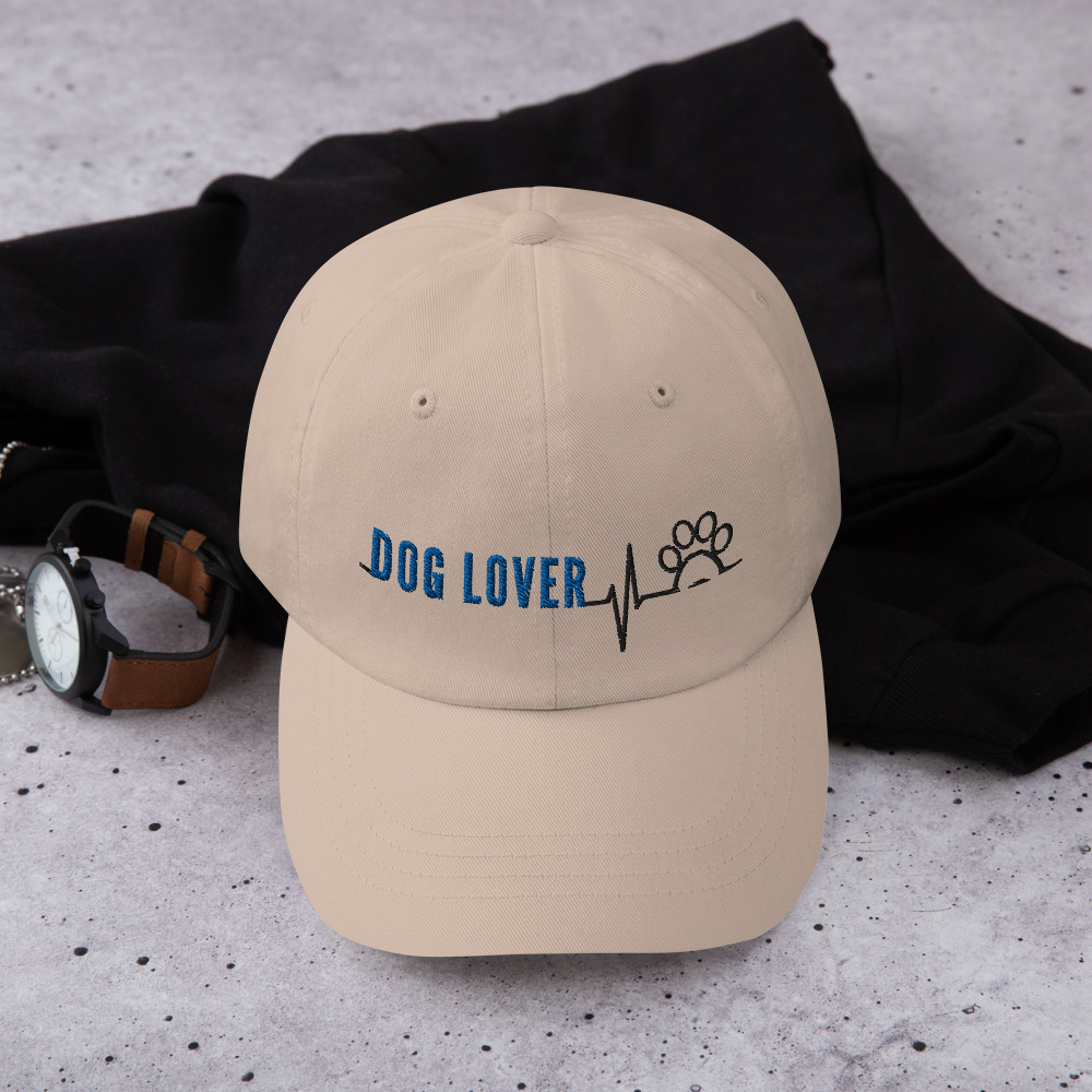 Khaki baseball cap with Dog Lover in blue with heartbeat / pawprint design in black thread