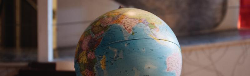 Globe turned to Asia, Africa, and Australia