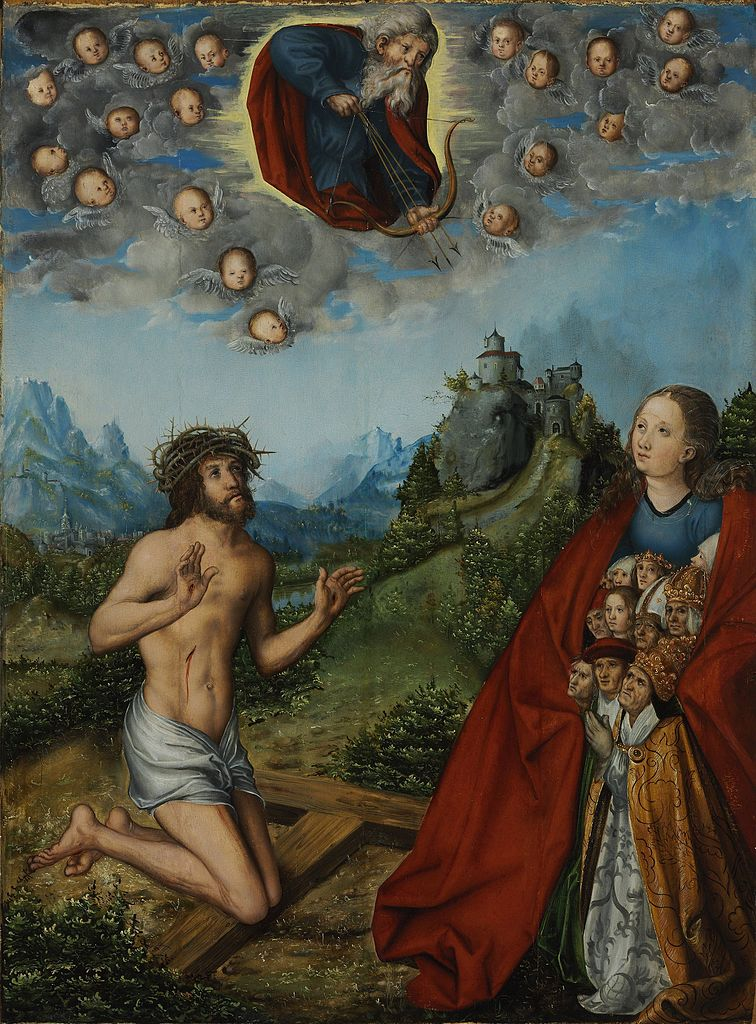 Cranach Christ and the Virgin Interceding for Humanity before God the Father