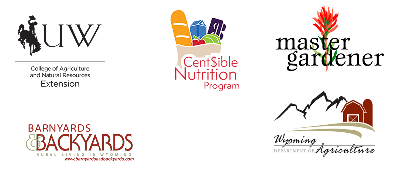 logos for UW Extension, Barnyards & Backyards Magazine, Centsible Nutrition Program, Master Gardener program, and Wyoming Department of Agriculture