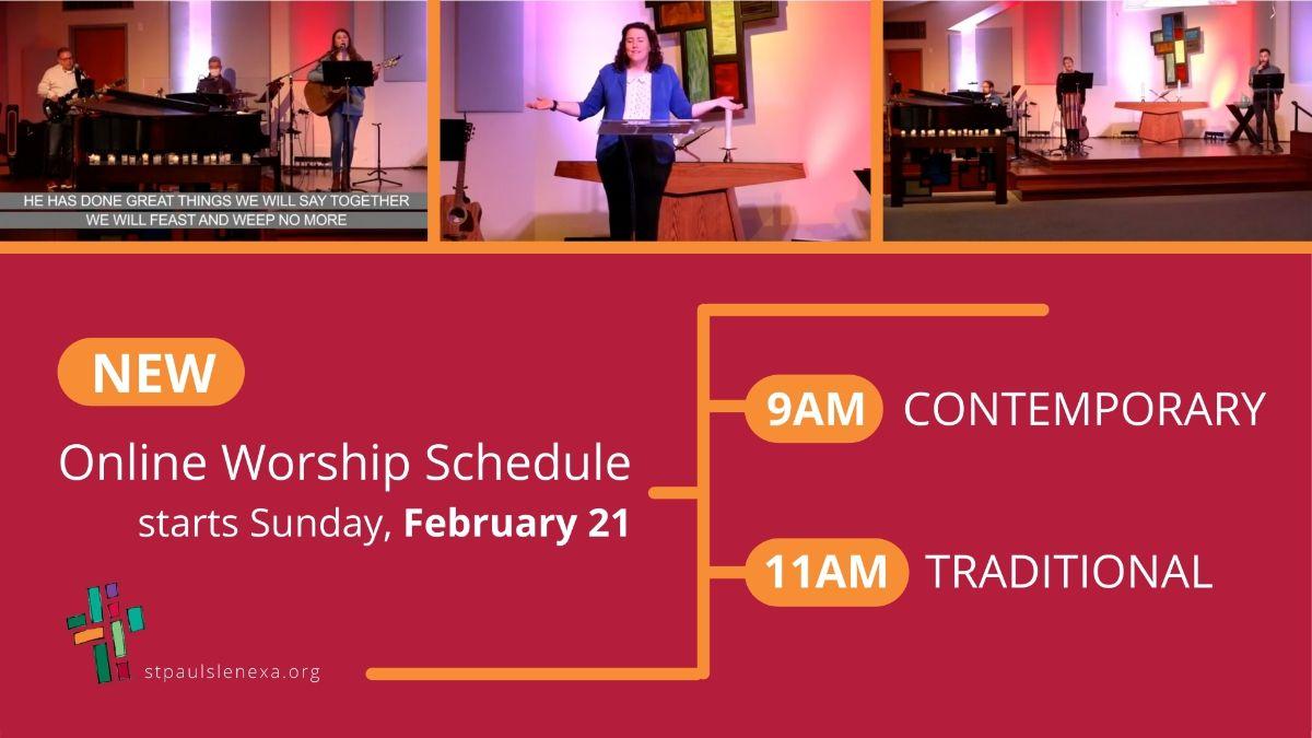 New online worship schedule