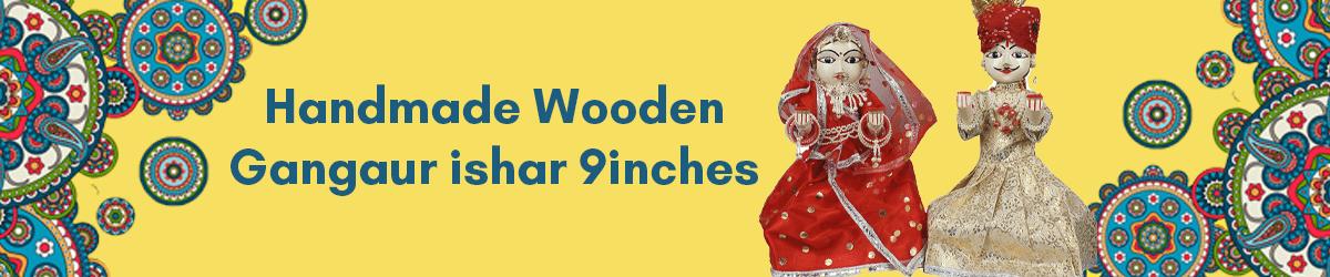 Handmade Wooden Gangaur ishar 9inches amazon.in
