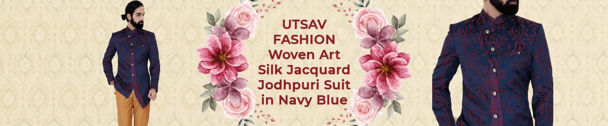 Woven Art Silk Jacquard Jodhpuri Suit