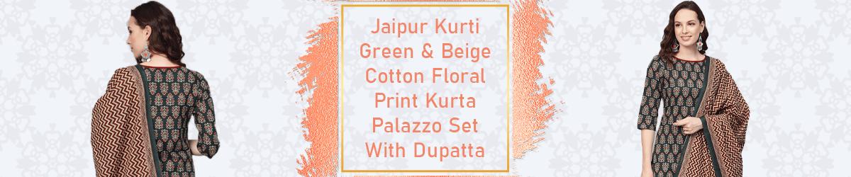 Jaipur Green & Beige Cotton Floral Kurta Palazzo Set
