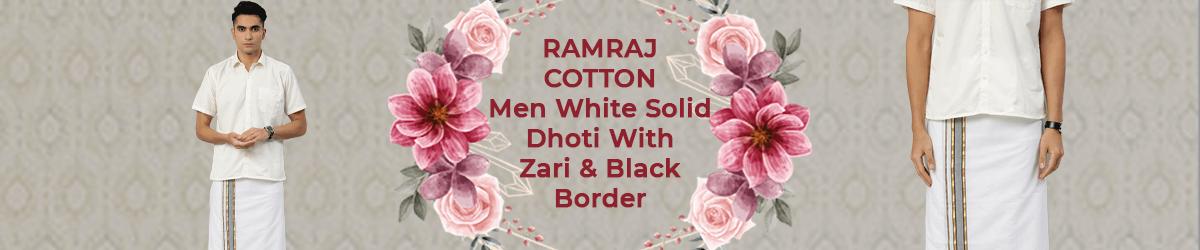 RAMRAJ COTTON Men White Solid Dhoti With Zari & Black Border