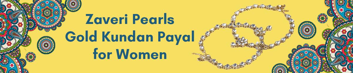 Zaveri Pearls Traditional Gold Tone Kundan Payal for Women amazon.in