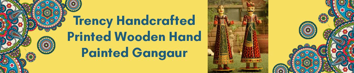 Printed Point Wooden Hand Painted Gangaur Isar amazon