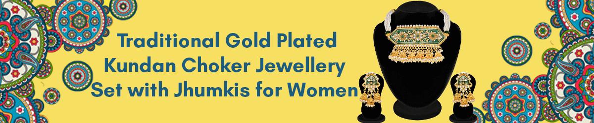 Gold Plated Kundan Pearl Meena Work Choker Jewellery Set