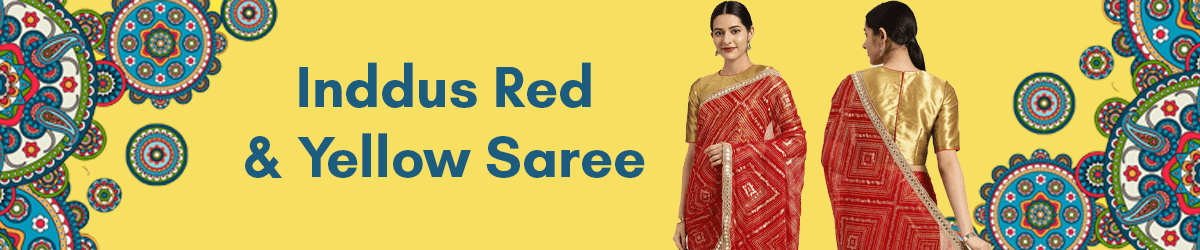 Inddus Red Yellow Saree