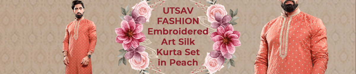 Embroidered Art Silk Kurta Set in Peach