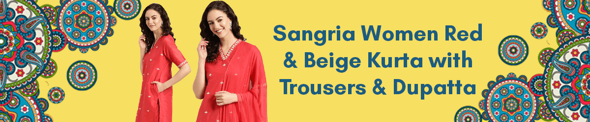 Sangria Women Red & Beige Embroidered Kurta with Trousers  Dupatta
