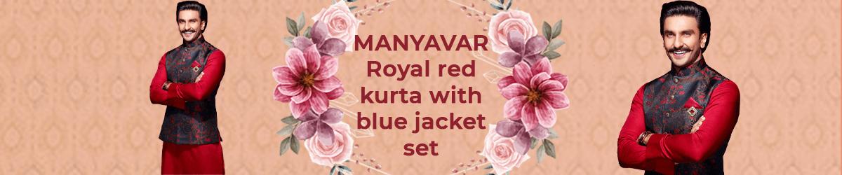 Royal red kurta with blue jacket set