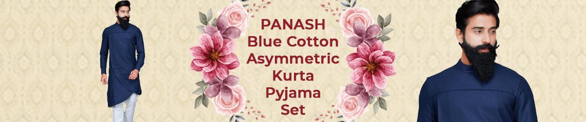 Blue Cotton Asymmetric Kurta Pyjama Set