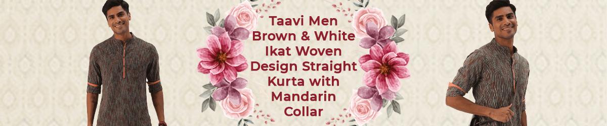Men Brown & White Ikat Woven Design Straight Kurta