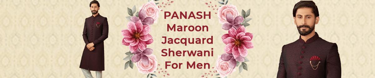 Maroon Jacquard Sherwani For Men
