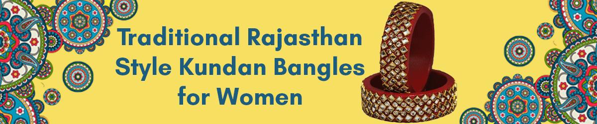 Traditional Rajasthan Style Kundan Lac Kada Bangles for Women - Set of 2