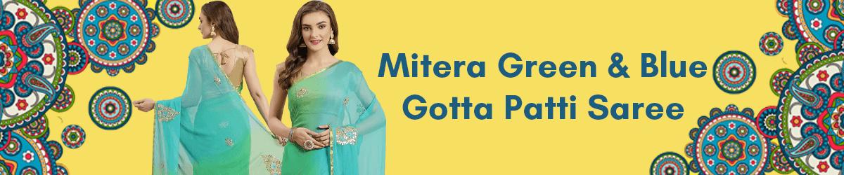 Mitera Green Blue Handcrafted Ombre Effect Gotta Patti Detail Saree