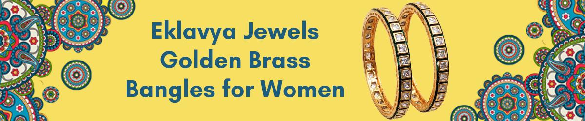 Eklavya Jewels Golden Brass Kundan Meena Bangles for Women
