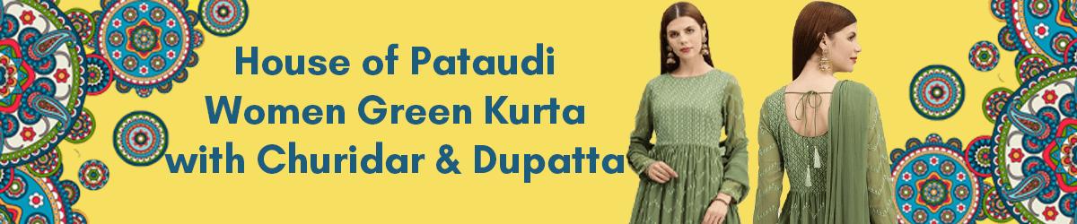 House of Pataudi Women Green Embroidered Kurta with Churidar Dupatta