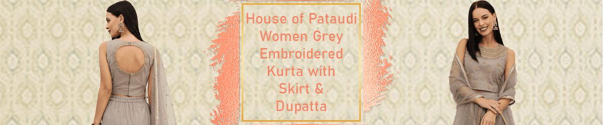 Grey Embroidered Kurta with Skirt & Dupatta