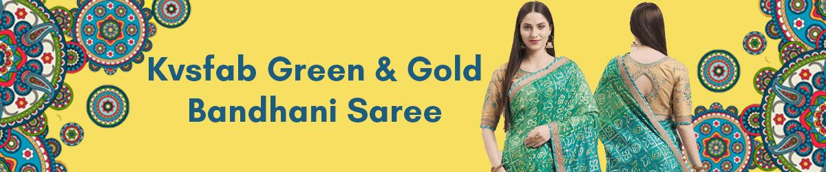 Kvsfab Green Gold-Toned Silk Blend Embroidered Bandhani Saree