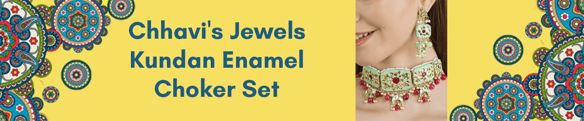 Chhavi's Jewels Kundan Enamel Choker Set azafashions.com