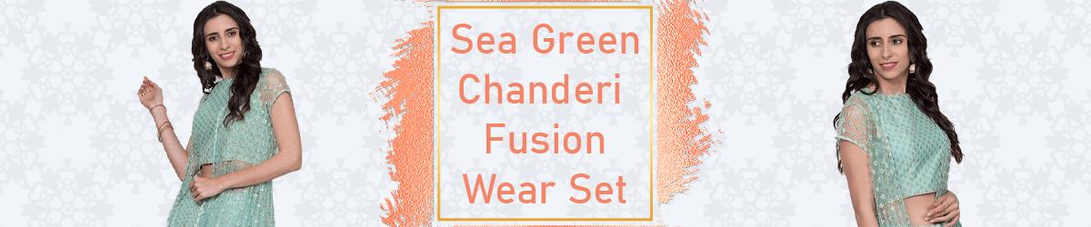 Sea Green Chanderi Fusion Wear Set