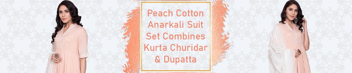Peach Cotton Anarkali Suit Set with Dupatta