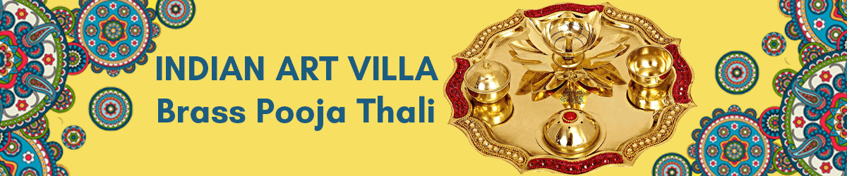 Indian Art Villa Brass Pooja Aarti Thali, Poojan Purpose Home Temple Item, 8-inch (Golden)