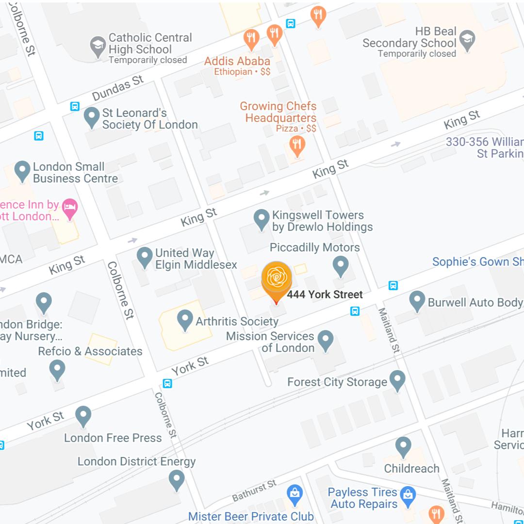 MAP of Cathy Bradbury Healing Touch 444 York Street London Ontario