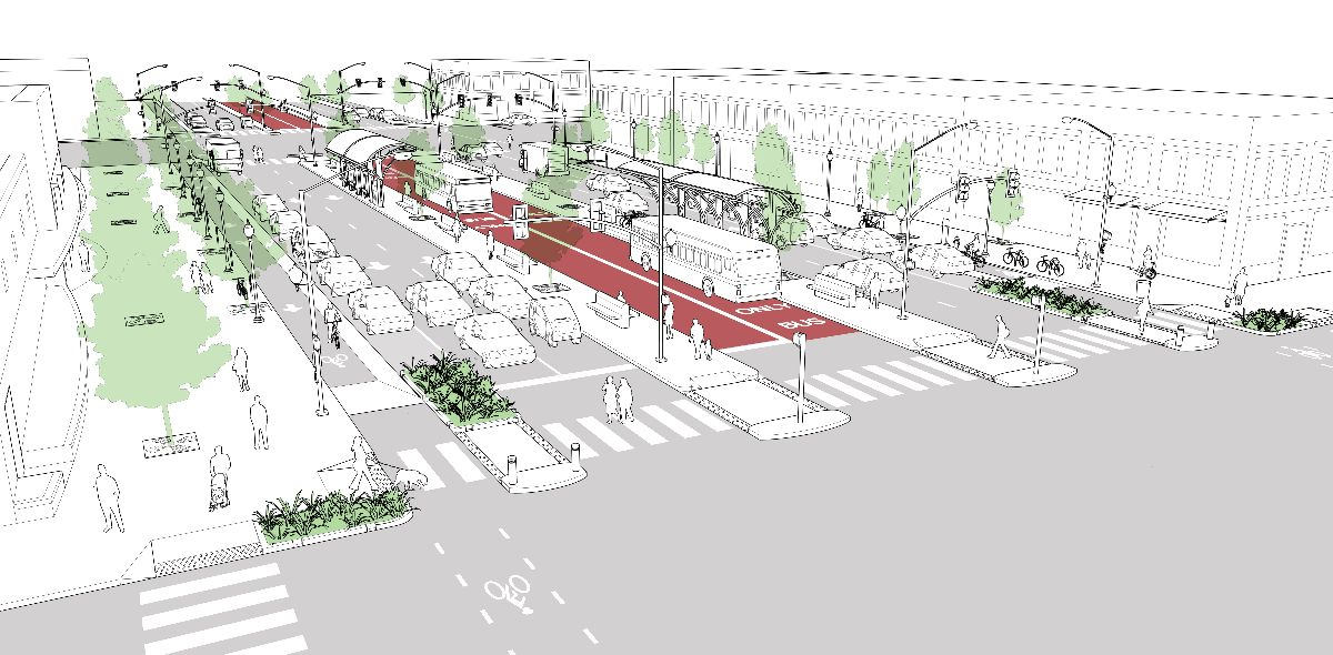 """A diagram of a """"complete street"""" has a dedicated two-way bus lane in the center, two lanes on either side for cars to drive on, street parking on either side of the car lanes for cars. and a bike lanes on either side of the parallel parked cars so that the bikes are protected by the parked cars."""