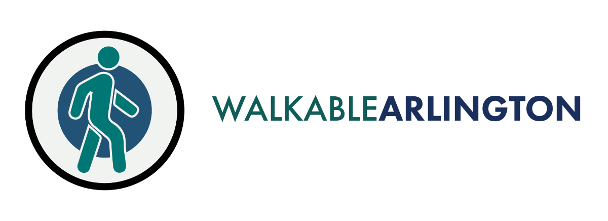 Walkable Arlington's banner logo with an icon of a walking person within two concentric circles