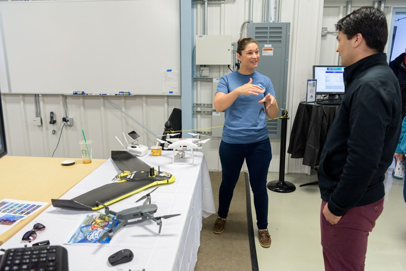 Stephanie Dohner is doctoral candidate in oceanography in UD's College of Earth, Ocean and Environment. Dohner is pictured here in 2017 teaching Coast Day visitors about drones.