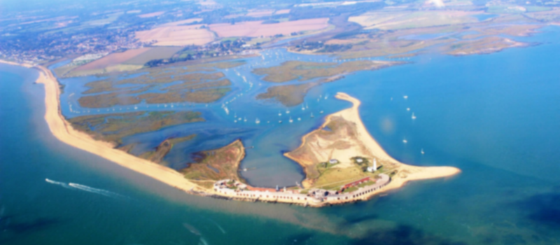 Hurst Castle and Hurst Spit from above