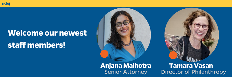 """Photos of Anjana Malhotra and Tamara Vasan against a blue and yellow background with text that says """"Welcome our newest staff members!"""""""