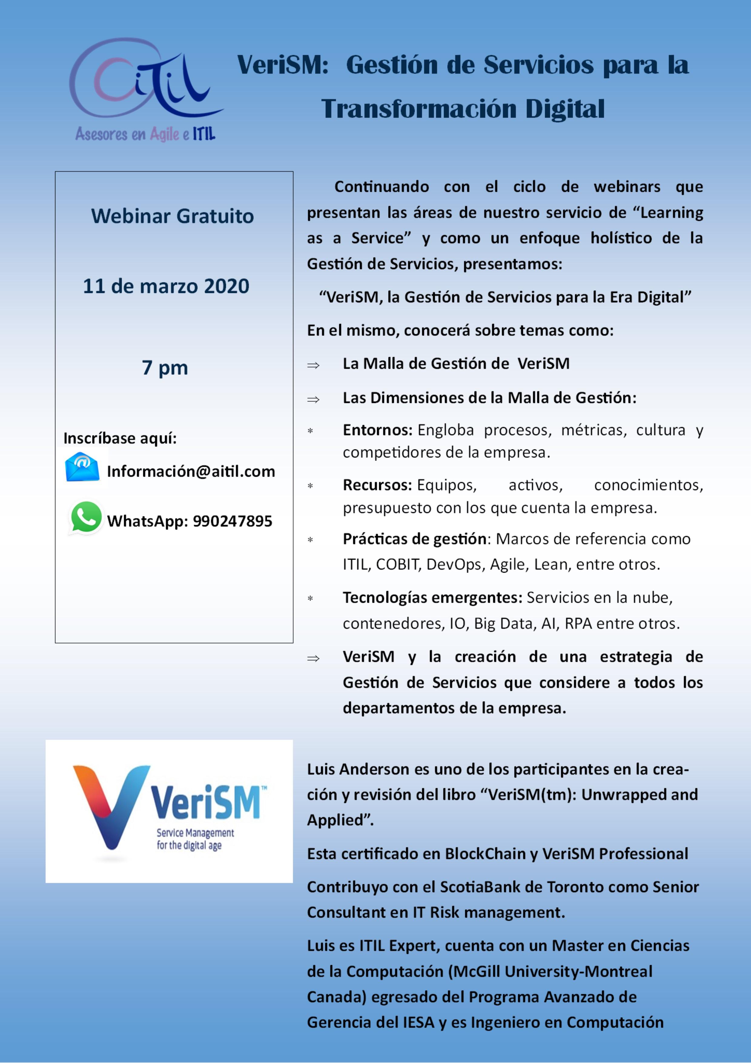 Webinar Gratuito 11 de Marzo 7 PM VeriSM Gestion de Servicios para la Transformacion Digital LaaS