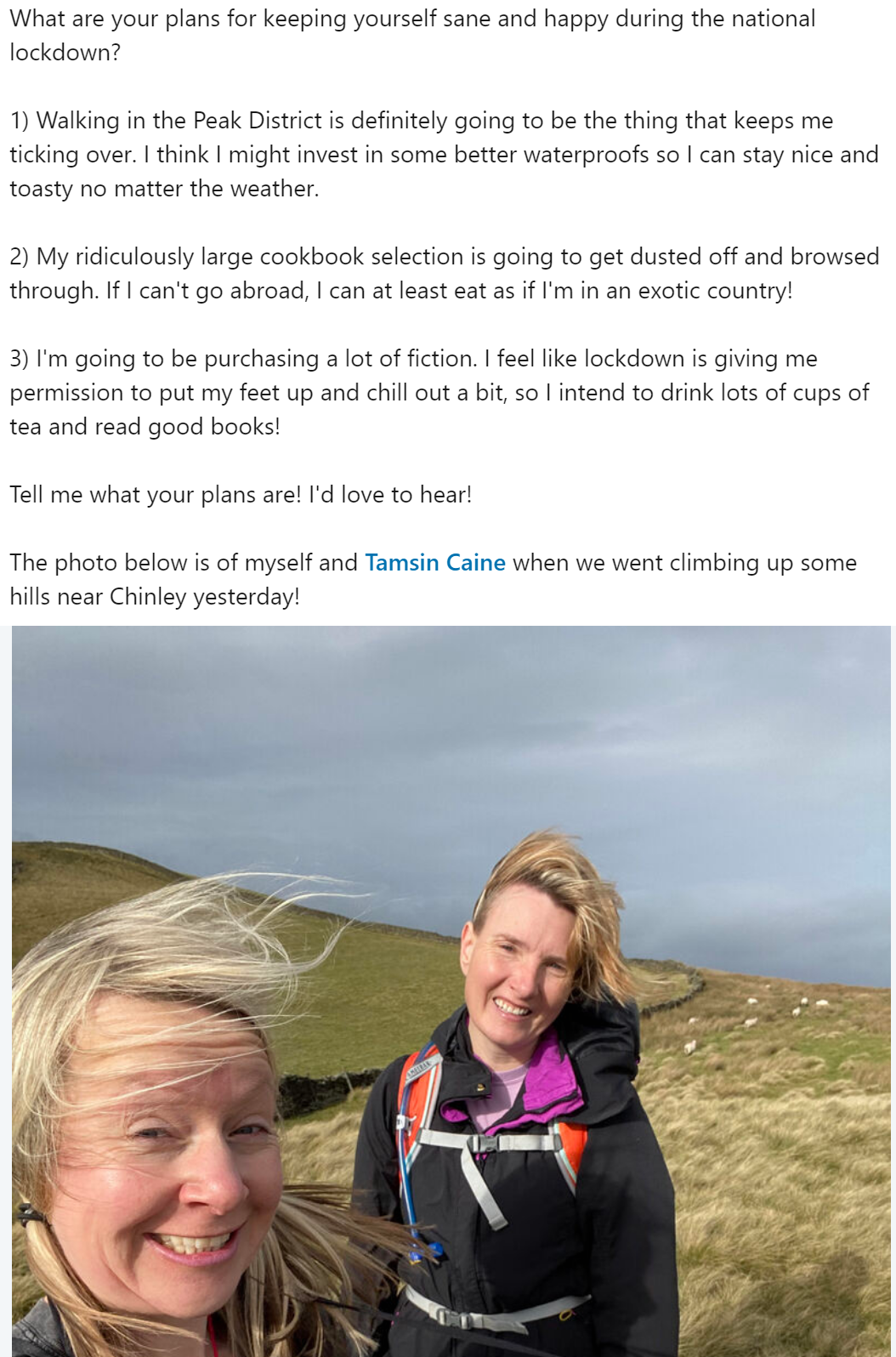 Katya Willems LinkedIn post with a picture of Katya and a friend Tamsin in the Peak District.