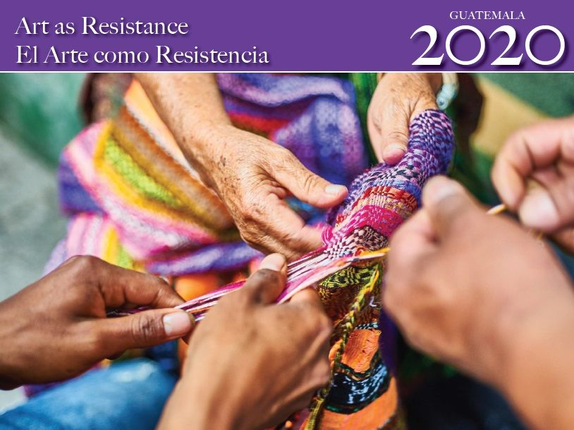 Art as Resistance Calendar cover image: Several hands come together to weave a colorful cloth.