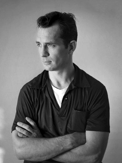 Jack Kerouac starting at an article about a podcast about him.