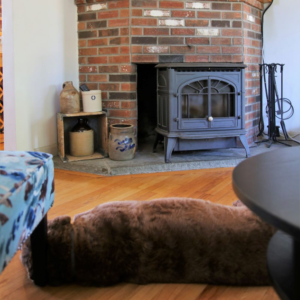 Living room featuring wood stove